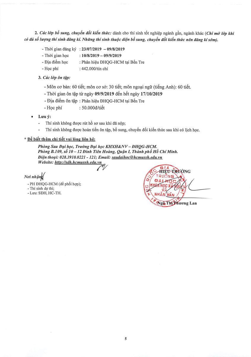 THÔNG BÁO TUYỂN SINH ĐÀO TẠO TRÌNH ĐỘ THẠC SỸ CỦA TRƯỜNG ĐẠI HỌC KHOA HỌC XÃ HỘI & NHÂN VĂN (ĐHQG-HCM) - ĐỢT 2 NĂM 2019