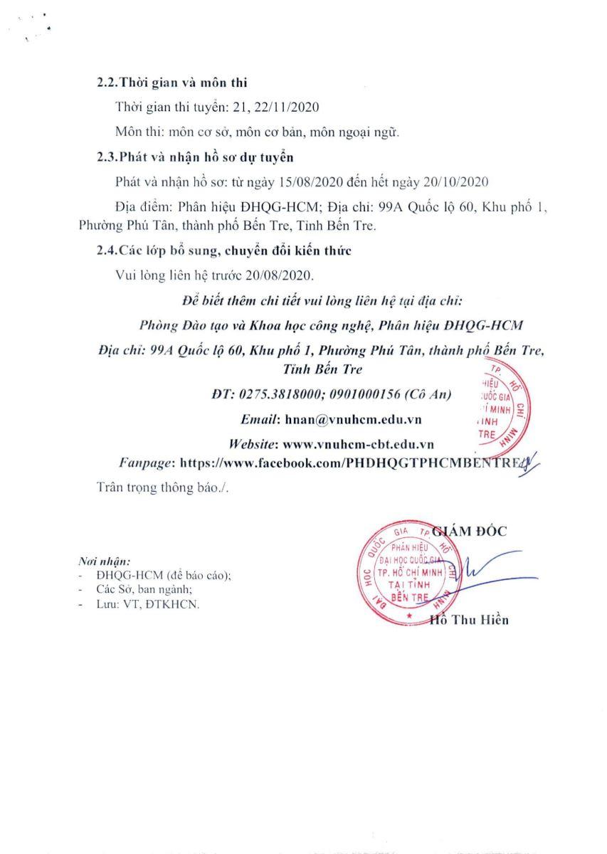 [THÔNG BÁO] TUYỂN SINH ĐÀO TẠO TRÌNH ĐỘ THẠC SỸ TẠI PHÂN HIỆU ĐHQG-HCM TẠI TỈNH BẾN TRE NĂM 2020 - ĐỢT 2