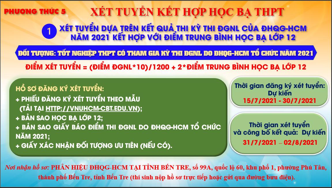 PHƯƠNG THỨC 5 - XÉT TUYỂN KẾT HỢP HỌC BẠ THPT (10% - 30% TỔNG CHỈ TIÊU)