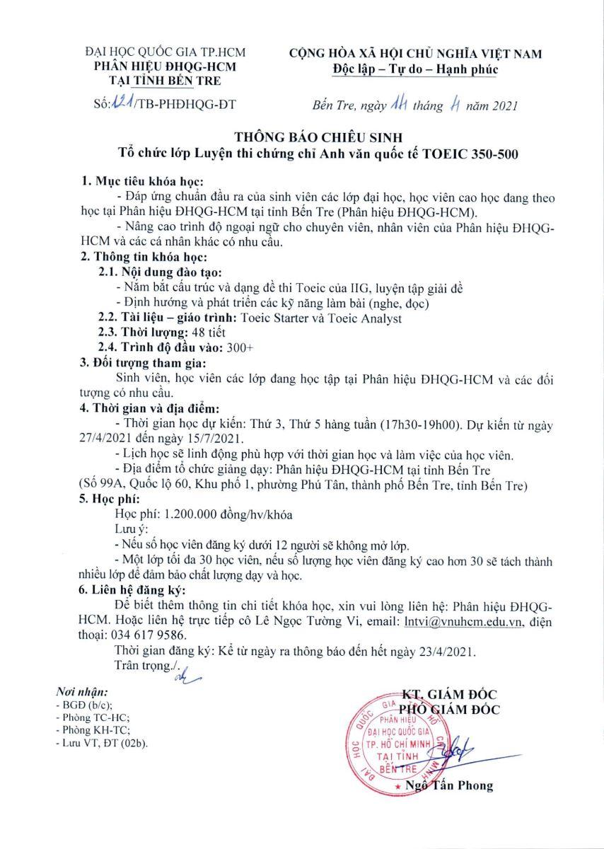 Thông báo chiêu sinh lớp luyện thi chứng chỉ Anh văn quốc tế TOEIC 350-500