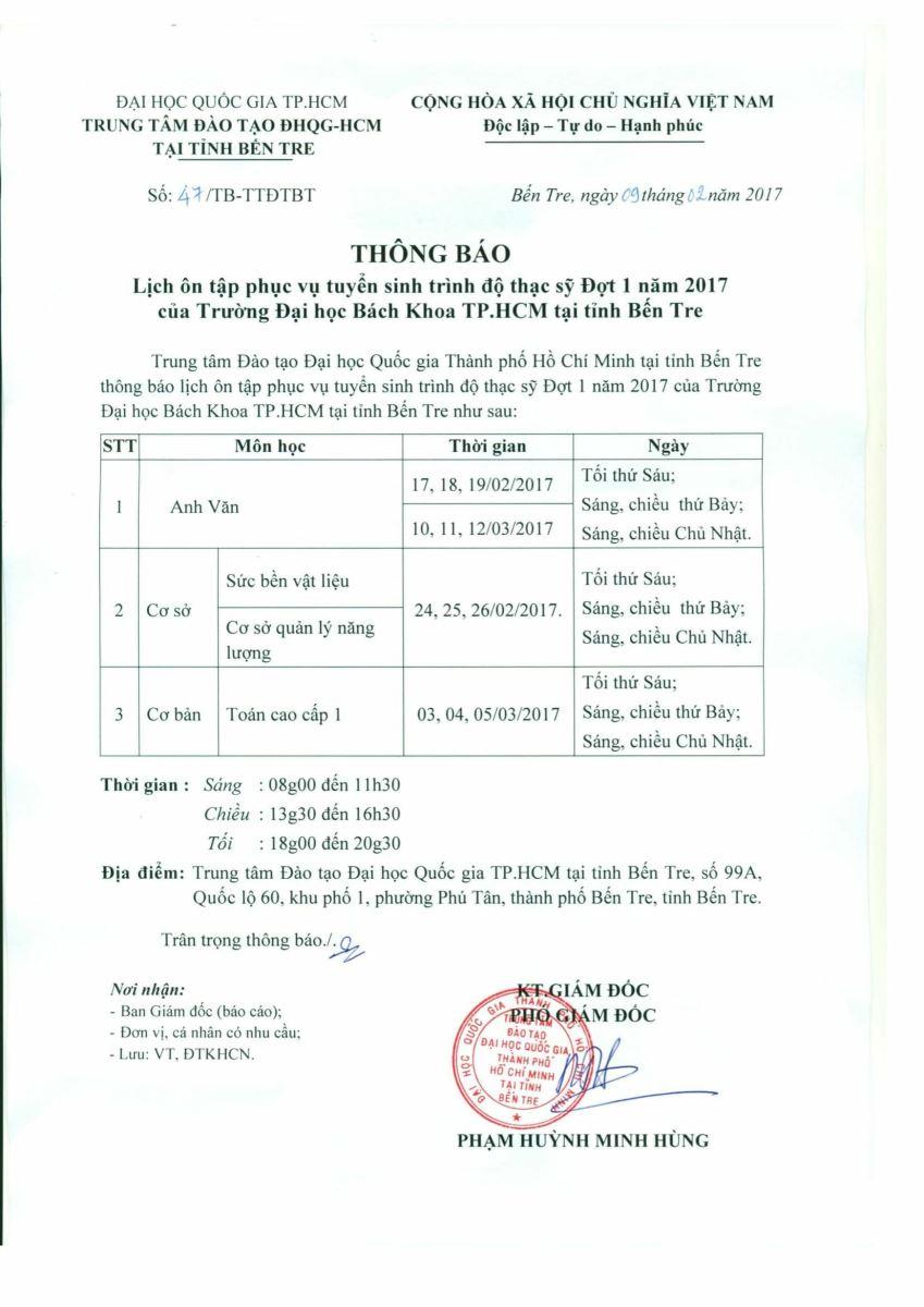 Thông báo lịch ôn tập phục vụ tuyển sinh trình độ thạc sỹ Đợt 1 năm 2017 của Trường Đại học Bách khoa Tp.HCM tại tỉnh Bến Tre