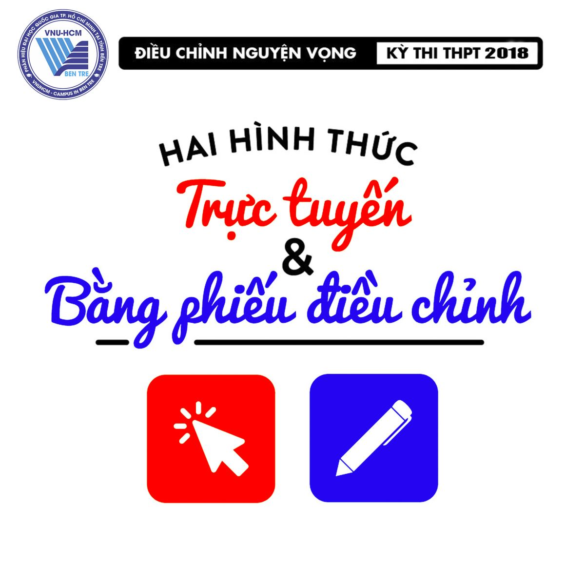 [Hướng dẫn] Điều chỉnh nguyện vọng bổ sung đại học 2018 tại Phân hiệu ĐHQG-HCM tại tỉnh Bến Tre