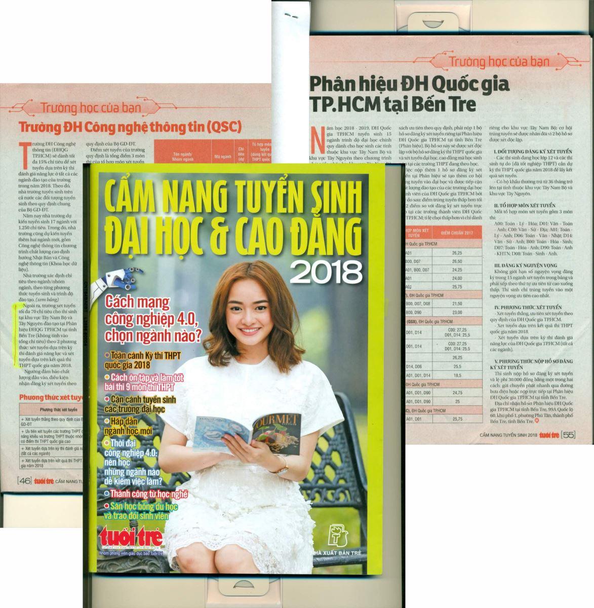 Phân hiệu ĐHQG-HCM tại tỉnh Bến Tre đã có mặt trên trang Báo Cẩm nang tuyển sinh Đại học & Cao đẳng năm 2018