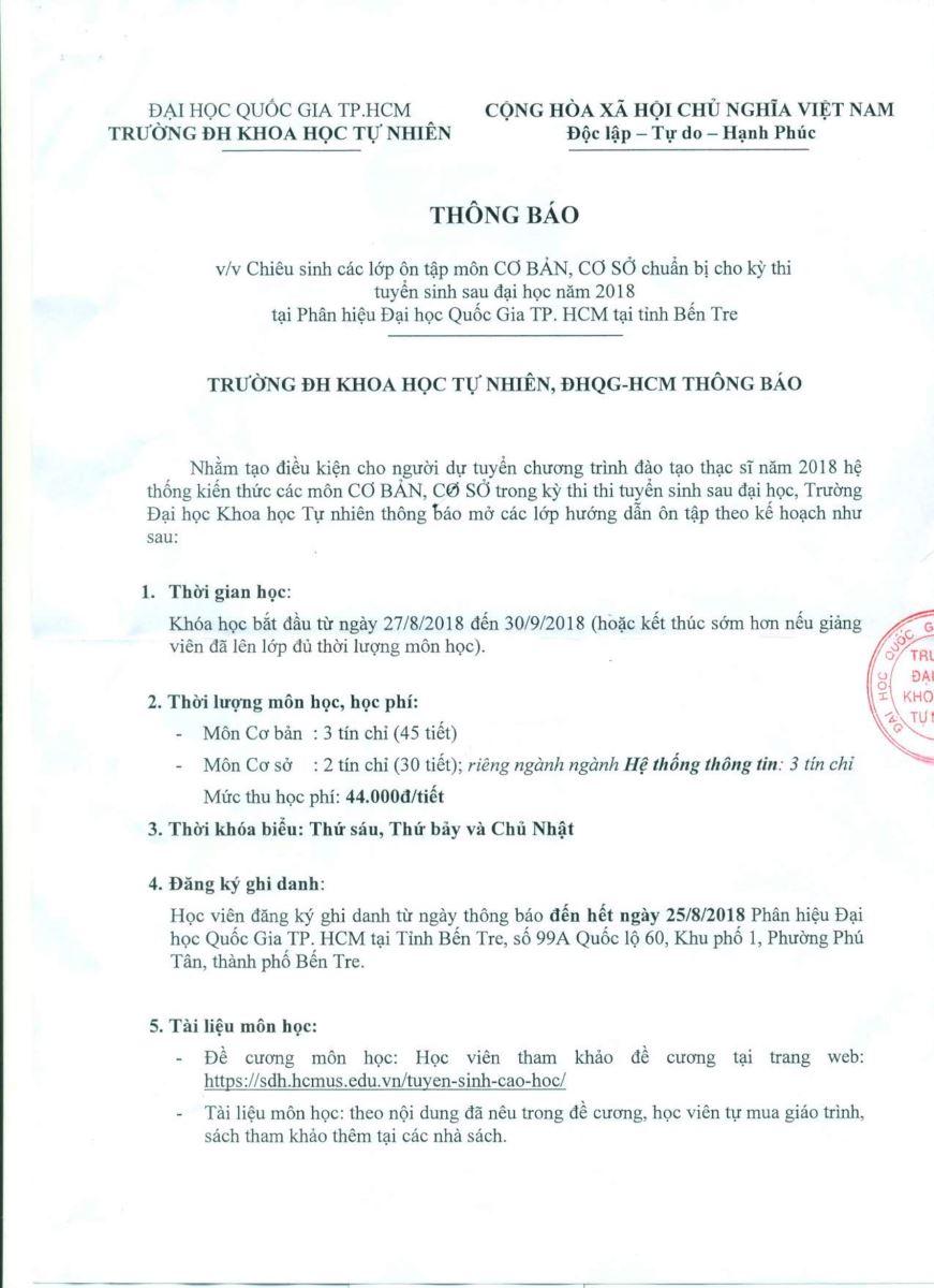 Trường ĐH KHTN Chiêu sinh các lớp ôn tập môn CƠ BẢN, CƠ SỞ chuẩn bị cho kỳ thi tuyển sinh Sau đại học năm 2018 tại Phân hiệu ĐHQG-HCM tại tỉnh Bến Tre